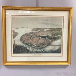 Framed Print After Prang & Co.'s Boston Bird's-eye View from the North