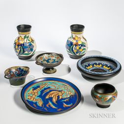 Seven Gouda Pottery Items