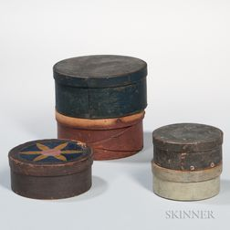 Five Round Painted Pantry Boxes
