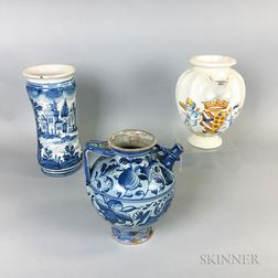 Three Italian Faience Ceramic Vessels