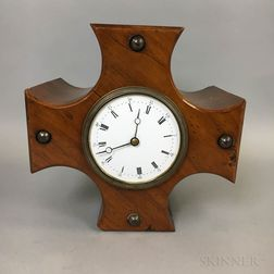 Fruitwood Shelf Clock with Propeller Base