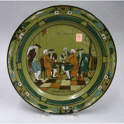 """1908 Buffalo Pottery Deldare Ware """"An Evening at Ye Lion Inn"""" Charger"""