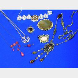 Eight Victorian and Czechoslovakian Jewelry Items