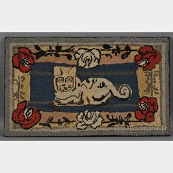 Wool and Cotton Figural Hooked Rug with Cat