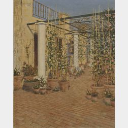 Anglo/American School, 19th Century      A Terrace Garden, Possibly Rome