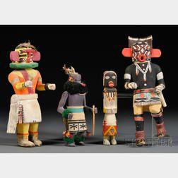 One Zuni and Three Hopi Carved Wood Warrior Kachinas