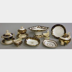 Eleven Pieces of Assorted English Gilt and Cobalt-decorated Porcelain Tableware