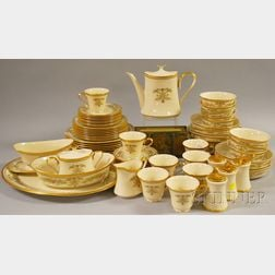 Sixty-seven-piece Lenox Gilt and Transfer-decorated Castle Garden Pattern Porcelain Dinner Set.