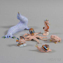 Six Herend Porcelain Animal Figures