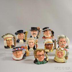 Ten Royal Doulton Ceramic Character Jugs