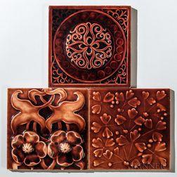 Three J. & J.G. Low Art Tile Works Art Pottery Tiles