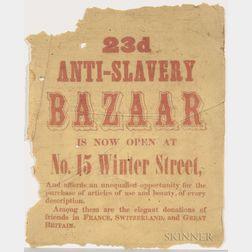 "Small ""Anti-Slavery Bazaar"" Broadside"