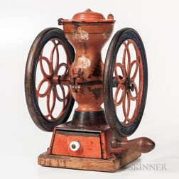 Small Red- and Blue-painted Enterprise Coffee Grinder