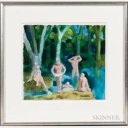 Paul Wonner (American, 1920-2008)      Bathers After Cézanne