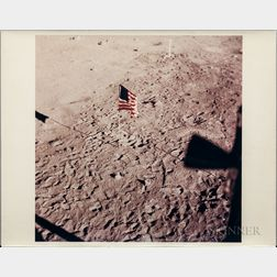Apollo 11, American Flag on Moon.