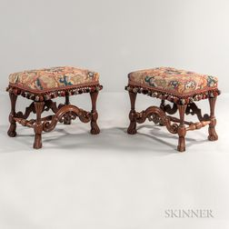 Pair of Baroque-style Tapestry-upholstered Walnut Stools