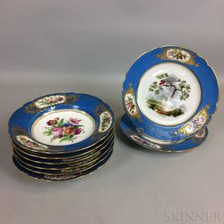 Set of Six French Hand-painted Porcelain and Two Plates