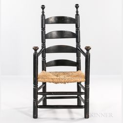 Early Black-painted Slat-back Armchair
