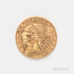 1926 $2.50 Indian Head Quarter Eagle Gold Coin.     Estimate $300-500