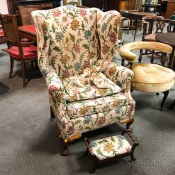 Chippendale-style Crewel-upholstered Cherry Easy Chair and Footstool