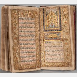 Arabic Manuscript on Paper with Three Miniatures, Qu'ran.