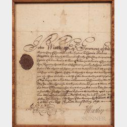 [Winthrop, Fitz-John] Manuscript Captain Thomas Stoughton Windsor, Connecticut, Militia Commission