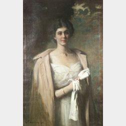 William Thomas Smedley (American, 1858-1920)  The White Gloves/Portrait of an Elegant Lady