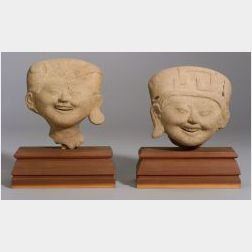 Two Pre-Columbian Head Fragments