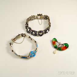Three Pieces of Sterling Silver Art Deco Jewelry