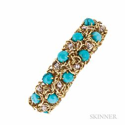 14kt Gold, Turquoise, and Diamond Bracelet
