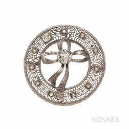 Art Deco 14kt White Gold and Diamond Bow Brooch