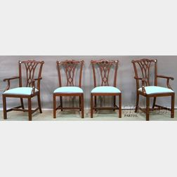 Set of Eight Councill Chippendale-style Carved Mahogany Dining Chairs with   Upholstered Slip Seats