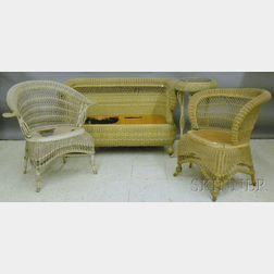 Four Pieces of Painted Late Victorian Woven Wicker Furniture
