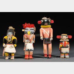 Four Hopi Carved Wood Kachinas
