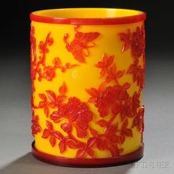 Peking Glass Brush Pot