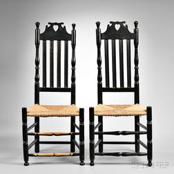 """Pair of Black-painted """"Bow Tie"""" Heart and Crown Bannister-back Side Chairs"""