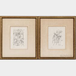 George Grosz (German/American, 1893-1959)      Two Prints: Accordionist in a Paris Cafe