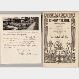 Baum, L. Frank (1856-1919) Autograph Letter Signed, 1916 and Playbill from the 1903 Boston Production of The Wizard of Oz.
