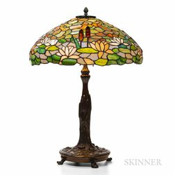 Wilkinson Waterlily Leaded Glass and Bronze Table Lamp