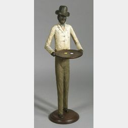 Folk Art Carved and Painted Wood Waiter Figure