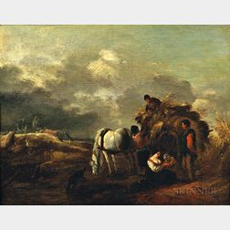 After Philips Wouwerman (Dutch, 1619-1668    Hay Cart, Harvesters, and Family Under a Cloudy Sky