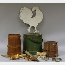 Painted Cut Sheet Metal Rooster, a Large Green-painted Firkin, Lidded Pail with Spigot, Small Barrel, and Nine ...