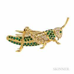 18kt Gold, Emerald, and Diamond Brooch