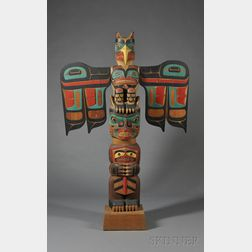 Northwest Coast Polychrome Carved Wood Totem Pole