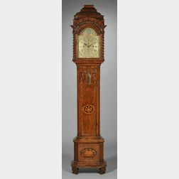 Dutch Marquetry-inlaid Tall Case Clock with Barometer