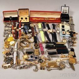 Large Group of Fashion Wristwatches and Gentleman's Accessories