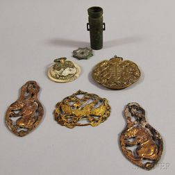 Six Metal Items and a Stone Carving