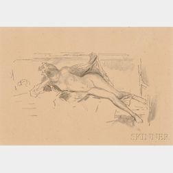 James Abbott McNeill Whistler (American, 1834-1903)      Nude Model, Reclining