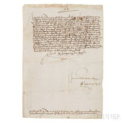 Ferdinand V, King of Spain (1452-1516) Document Signed, January 1515.