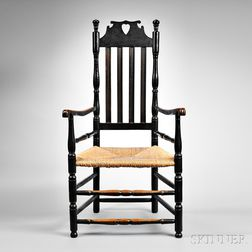 """Black-painted """"Bow Tie"""" Heart and Crown Bannister-back Armchair"""